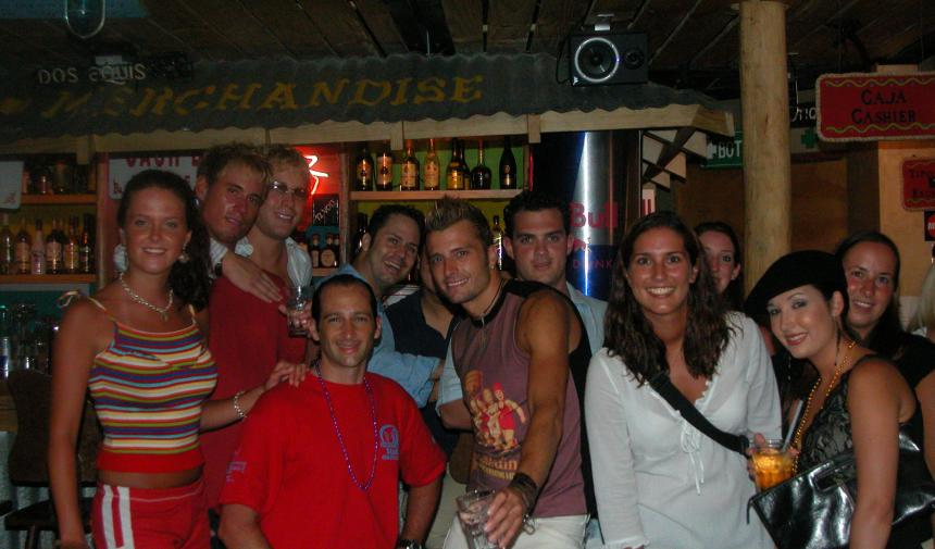 group of people in a bar in Cancun, Mexico