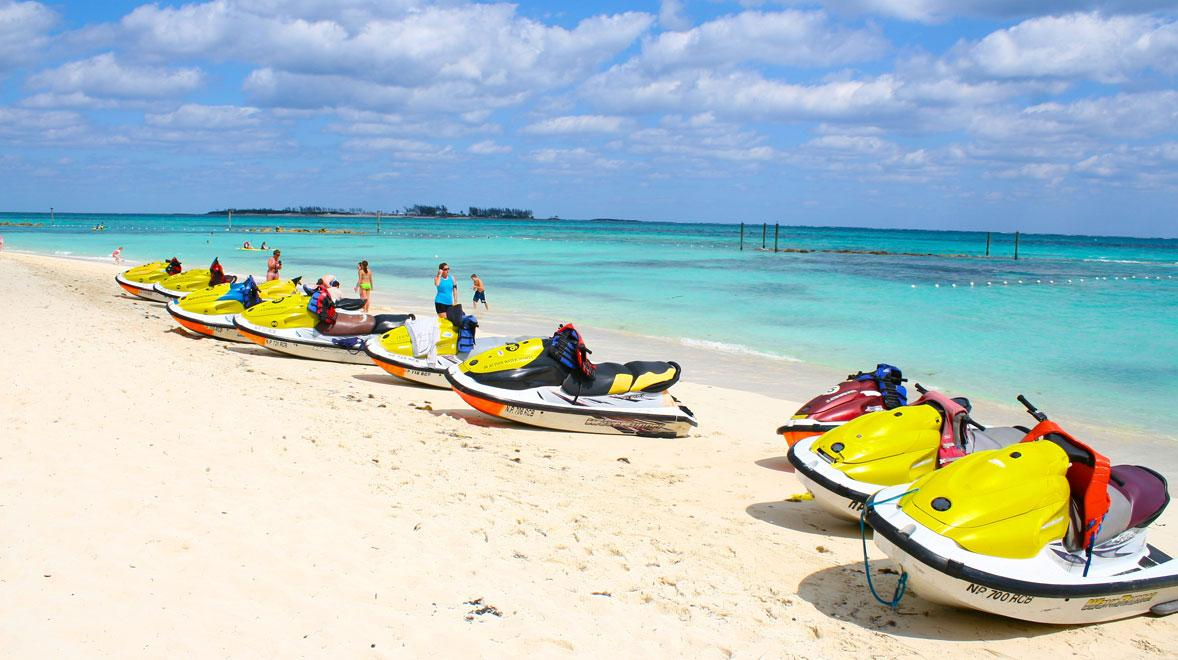 Jet skis on a Nassau beach